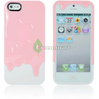 New Hot 3D Melt Ice Cream Hard Case Cover For iPhone 5 5G 5th Gen Pink White GM