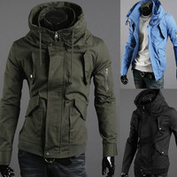 UK Style Zipper Sleeve Slim Jacket Men high collar Jacket Coat