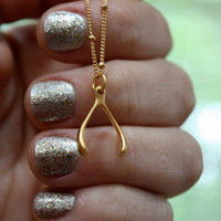 Gold Wishbone Necklace - Holidays . Thanksgiving Jewelry . Wish Bone . 24K Gold Dipped