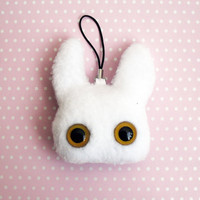 WABBITZ - Kawaii Plush Phone Charm Key Ring Accessory - White with Yellow Eyes