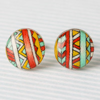 Tribal Print Post Earrings in Red, Yellow, and Mint