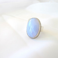 Gemstone ring, blue lace agate, long ring