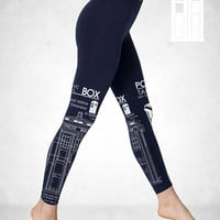100% Whovian Tardis Blueprints Leggings american apparel S M L XL