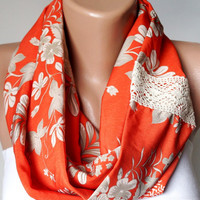 Infinity Scarf,Loop Scarf, Circle Scarf, Cowl Scarf loop Flower handmade from cream and orange coton linen