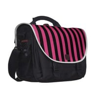 Cabaret Red Fuchsia And Vertical Black Stripes Commuter Bag from Zazzle.com