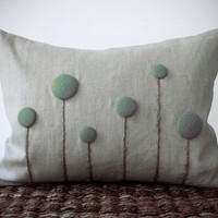 Mint Billy Ball Flower Pillow in Natural Linen Home Decor by JillianReneDecor Craspedia Billy Button Botanical Aqua Grayed Jade