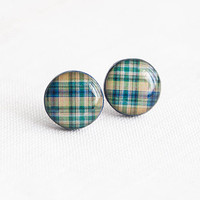 Plaid stud earrings - Navy blue stud earrings - Tartan jewelry - Fall fashion