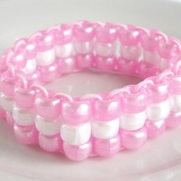 Light Pink & White Triple Strand Pony Bead Child's Elastic Bracelet