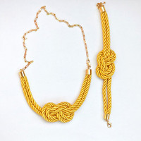 Bright Sun Yellow Matching better set  Nautical Knot  Rope Necklace and bracelet with golden chain