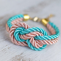 Peach and teal Nautical Silk knot cord Bracelet by pardes israel