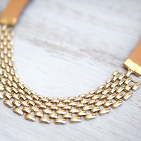 NEW Collection: Mixed Leather Cord and Modern gold plated Chain Necklace  by pardes israel