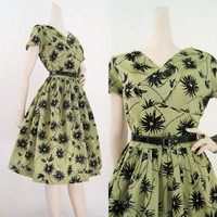 50s 60s Dress Vintage Flocked Velvet Glitter Green Full Skirt Party Holiday Dress M L