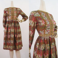 60s Dress Vintage Psychedelic Gold Lame Ethnic Print Full Skirt Party Cocktail M L