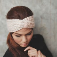 Knit Turban Headband - Old Pale Peach 100% wool yarn
