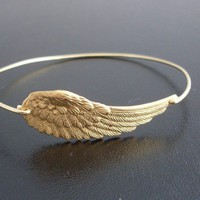 Bangle Bracelet Wing of an Angel Gold by FrostedWillow on Etsy