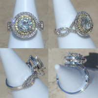 Round Moissanite Ring with Yellow Sapphire and Diamond Double Halo - LS1759