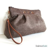 Pleated wristlet Brown wool herringbone and by seabreezestudio