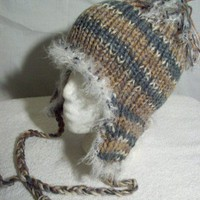 Aviator Earflap Hat Knit Warm Winter Ski Cap Unisex Grey Tweed Helmet