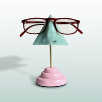 Eyewear Display, Mint Green Nose Eyeglass Holder Pink Base, Sunglasses Stand, Women, Men