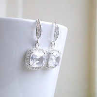 Wedding Jewelry Bridal Earrings Cushion Cut Cubic Zirconia CZ Halo Rhinestone Dangle Hook Silver Earrings - Itzel EC1P