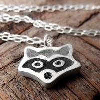 Tiny raccoon necklace  silver and concrete  by lulubugjewelry