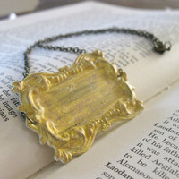 In the Garden Necklace - Distressed Aged Sunny Yellow Painted Brass Plate on Antique Brass Chain -  Vintage Art Nouveau Rustic Victorian