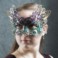 Rococo leather mask in Mardi Gras colors