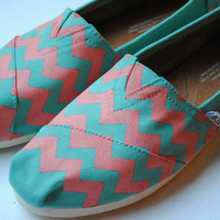 Custom Hand Painted TOMS Light Blue and Coral Chevron Design
