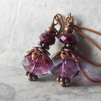 Dangle Earrings Beaded Jewelry Purple Czech Glass Drops with Metallic Purple Crystals in Antiqued Copper handmade Jewelry Dangle Earrings