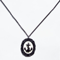 Anchor Cameo Necklace Resin Nautical Cameo Includes Pendant & Chain