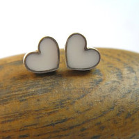 Silver Earrings - White Heart Studs - Sterling Silver and Resin - Valentine