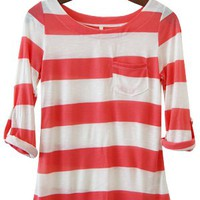 Perfect Everyday Shirt, Dolphin Coral Pink Stripes