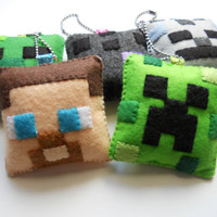 ONE Minecraft Christmas Ornament/Keychain by Michelle Coffee - Made to Order