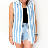 Vintage Blue Striped Vest
