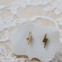Gold Lightening Bolt Stud Post Earrings