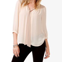Contrast Tie-Neck Blouse