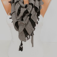 New- Gift-  Black and Gray  Shawl / Scarf