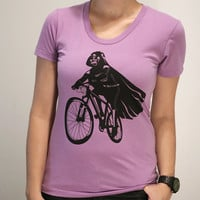 Darth Vader is Riding It - American Apparel Womens t shirt / printed with ECO ink ( Star Wars / Dart Vader bike shirt )