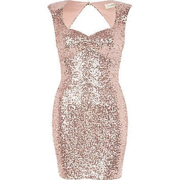 Light pink Lashes of London sequin dress