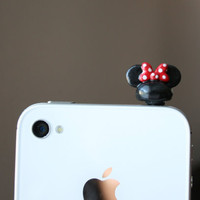 Mouse ears with bow smart phone dust plug