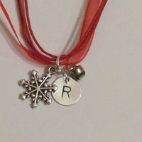 SNOWFLAKE -  Hand Stamped Initial Necklace - SALE - Christmas bell- -  Great Christmas gift