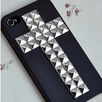 Studded Personalized Cross Silver Pyramid studded And Hard Case  For Apple iPhone 4 ,4s, iPhone 4 Hard Cover, iPhone Case silver studded