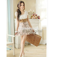 New Korean Women's Summer Sweet Clothing Retro Cut Leisure Floral Chiffon Dress