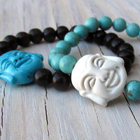 Laughing Buddha Bracelet, Magnesite, Black Wood, Mala Bracelet, Meditation Bracelet, Gifts for Her, Gifts for Him, Gifts Under 20