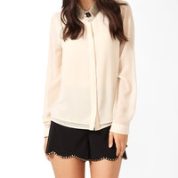 Sequined Collar Layered Shirt | LOVE21 - 2025100883
