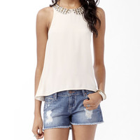 Embellished Collar Top | FOREVER21 - 2017306497
