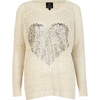 Cream metallic heart foil print jumper
