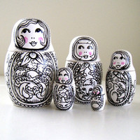 Russian Nesting Dolls Matryoshka Babushka Painted Ceramic Woodland Folk Art Black White Four Seasons Birds Fox Squirrel Deer