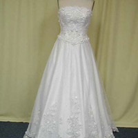 A-line Strapless Chapel Train Satin Tulle  Wedding Dress With Lace Beading Free Shipping