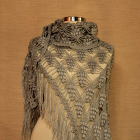 $135 Grapes of Pleasure / Crochet Grey Shawl Wrap / Cowl by lilithist